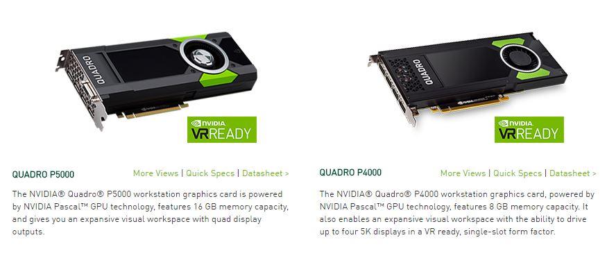 Dòng Card Quadro P4000 và P5000 chuyên đồ họa