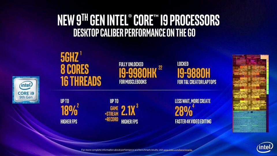 Intel giới thiệu Core-i9 9980HK và 9880H 8 nhân 16 luồng