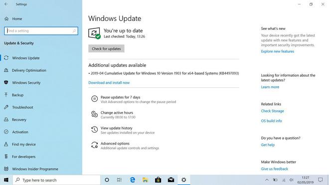 Đã có bản cập nhật Windows 10 May 2019