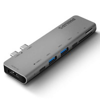Hub 2 Type-C 3.1 ->2 USB 3.0+SD+TF+Type-C +Type-C PD 3.0 Philips DLK5517C/94