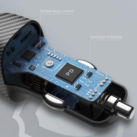 Sạc nhanh xe hơi Innostyle Poweron Speed 2 cổng PD/QC3.0 38W IC38-2PDBLK