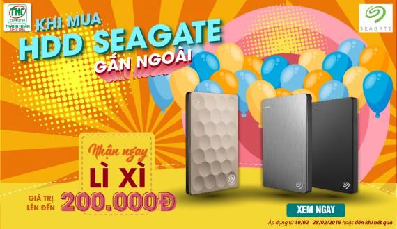 Khi mua HDD Seagate gắn ngoài, Nhận ngay Lì xì giá trị lên đến 200.000Đ