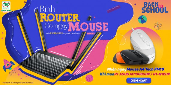 Rinh Router Asus AC1300UHP/RT-N12HP có ngay Mouse A4 Tech FM10