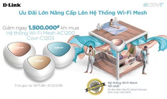 Giảm giá 1.500.000đ cho D-Link Mesh Wi-Fi AC1200 Covr-C1203