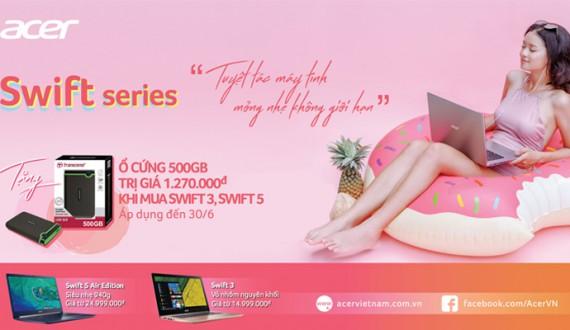 Tặng ổ cứng 500GB khi mua laptop Swift Series